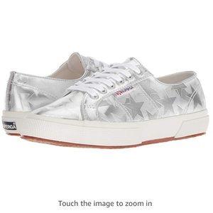 NWT Superga silver metallic star sneakers, 9 1/2